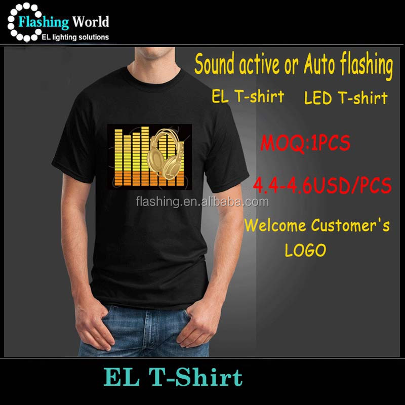 Wireless Sound Active CE&RoHS Approve LED Tshirt EL Equalizer T-shirt