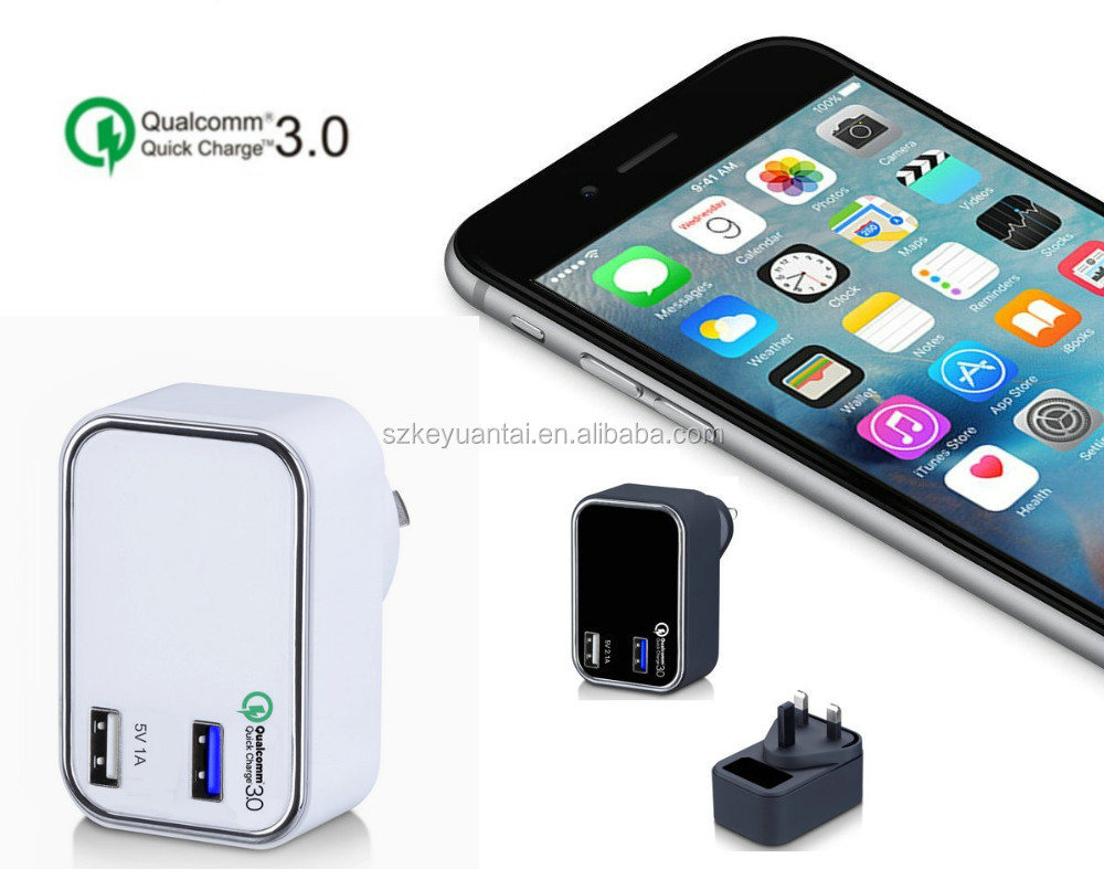 KC/UK/US/EU/AU qualcomm quick charge 5V 1A+QC3.0 2 USB QC 3.0 Quick Charger