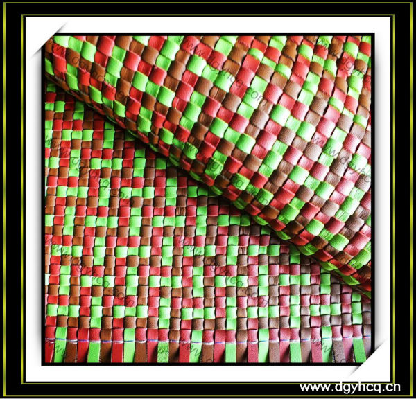 new fashion vamp weave leather material handbag braided leather wall decoration weave leather