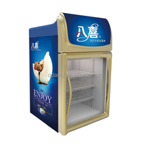 Micro ice cream display freezer with LED light for shop