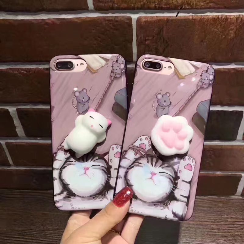 2018 New Fashion backpack gray 3D squeeze Squishy cat soft silicone Cartoon back cover mobile phone casefor huawei P8 lite 2017