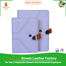 BWB-25-C white leather western portfolio/pu leather loose Leaf Notebook journal diary wholesale