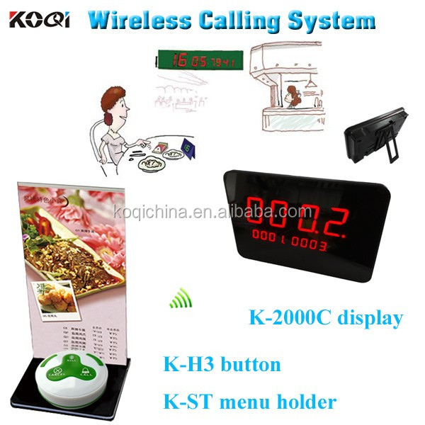 Wireless Paging Equipment K-2000C+K-H3-W+K-ST Wireless Table Waiter Service Call Calling Paging System
