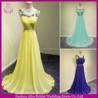 SW550 sheer top crystal yellow long chiffon prom dress for fat women