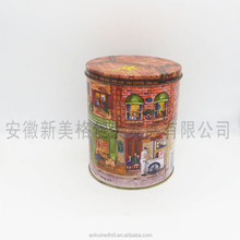 Large cookie candy round metal tin box for Christmas