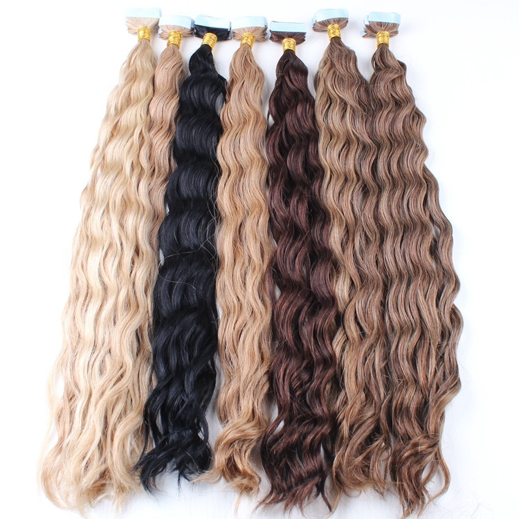 different color curly tape hair extensions available Brazilian human hair extensions tape in