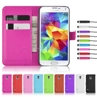 Colorful PU Leather Book Style Wallet Flip Case For Samsung Galaxy S5