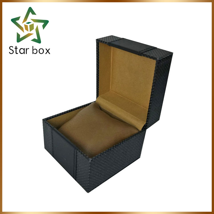 Stock gift packaging box blank watch case, plastic watch case with leather pillow