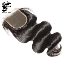 Aosun Hot Sale 8inch to 18inch Large Stock Wholesale 100% Human Virgin Hair Body Wave Brazilian Lace Closure