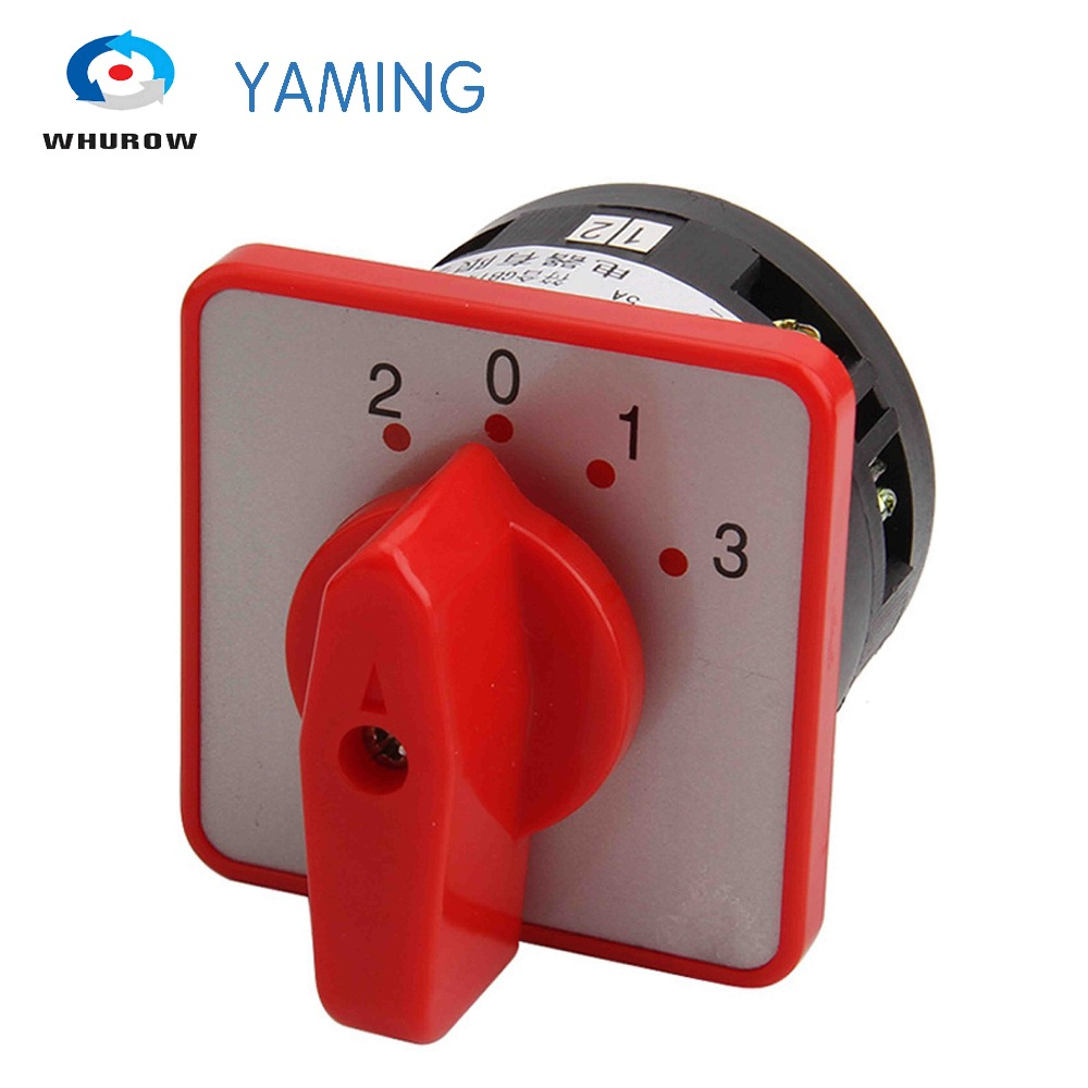 Yaming electric LW6-1/C303 Panel Mount 4A 1 pole 4 position control motor circuit Universal changeover rotary cam switch