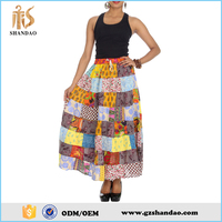 2016 Guangzhou shandao casual summer maxi straight floral print cotton long skirts india
