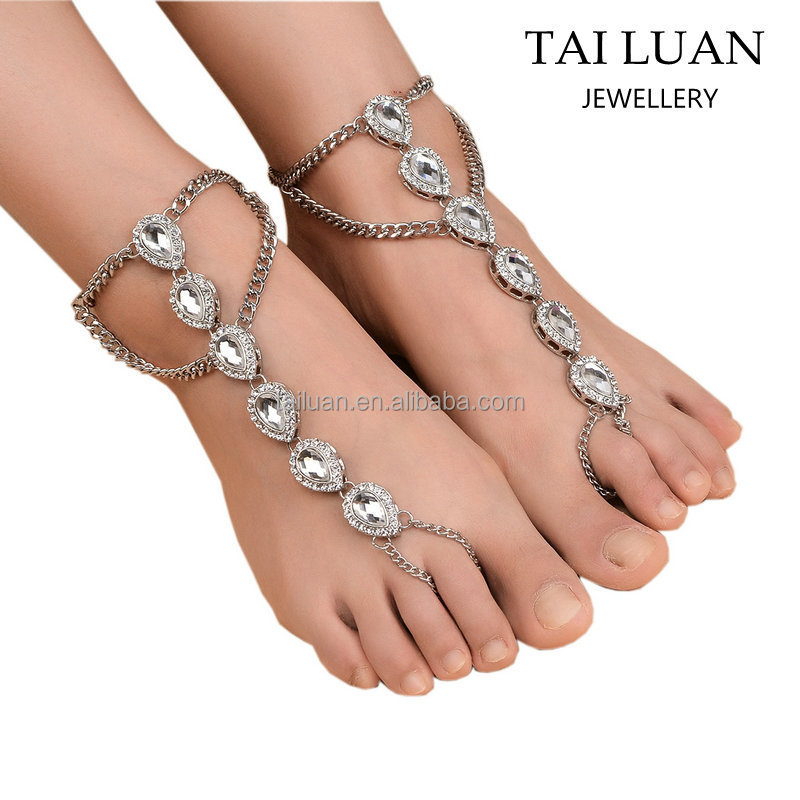 New arrival crystal bridal beach barefoot sandals wholesale traditional indian anklets