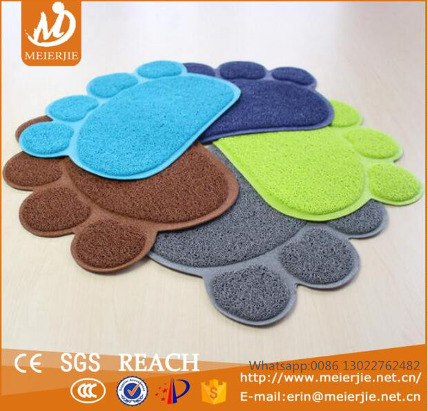 PVC Cat Litter Mat Pet Paw Print Litter Mat For Cats