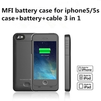 MFI Rechargeable Backup Power Case 2200mah For iPhone 5S Power Pack Extra Backup battery Charger Case for iphone 5