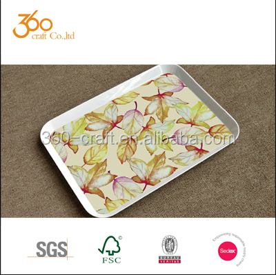 Large Melamine Rectangular serving tray with handle