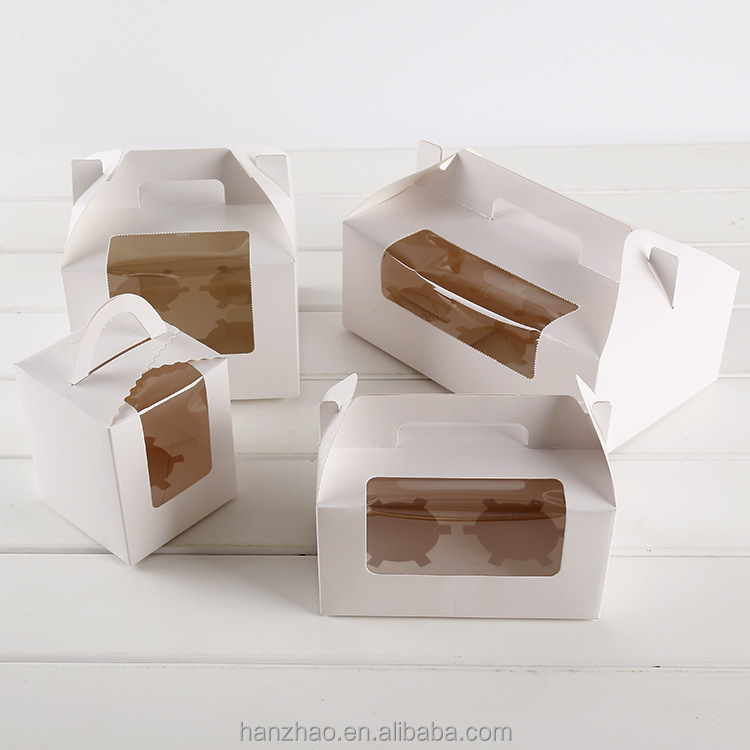 Different Size White Paper Cupcake Box Muffins Packaging with Inner Divider Clear Pvc Window for Festival Gift