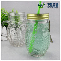400ml fancy owl animal-shaped embossed glass mason jar with handles and straws lids
