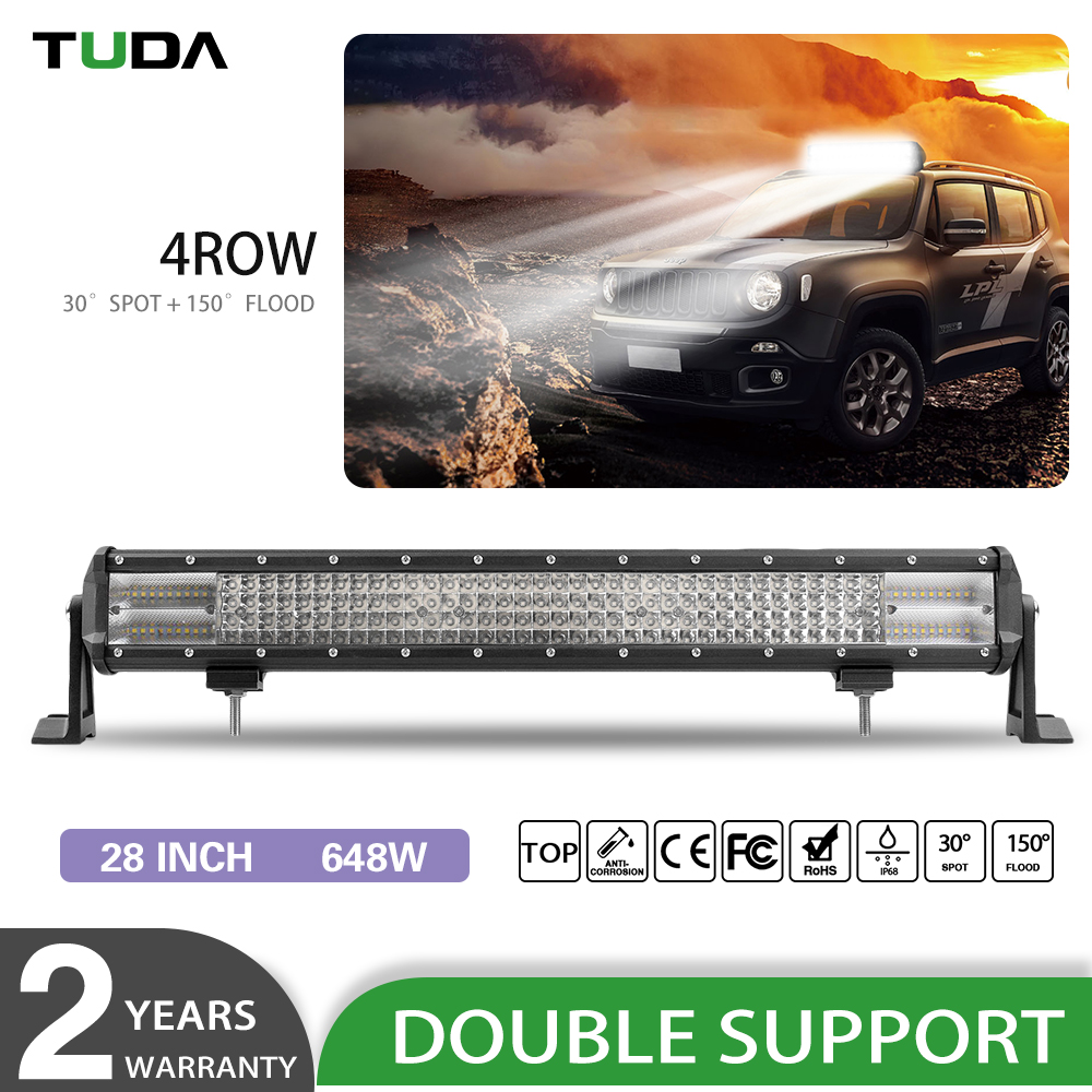 Wholesale Offroad 8D Reflector 28 Inch 648W 4x4 spot lights 4WD Led Light Bar Waterproof IP68 28 inch 4 Row led light bar