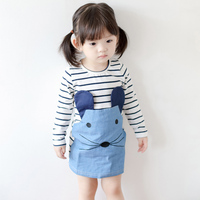 Newest Korea Baby Girl Denim Dress Casual Pattern Straight Dresses Cool Kids Wear GD81104-11