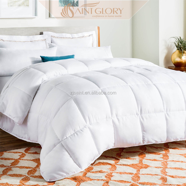China Supplier Duvet 100% Cotton White Soft As Down Comforter Microfiber Filling Polyester Quilt