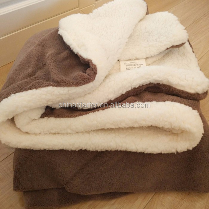 Soft Cozy Warm Decorative Fannel Throw And Plush Sherpa Double-ply Blanket