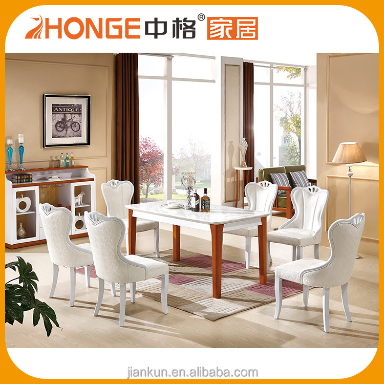 Wood Furniture Modern Style 2 Models Double Color Table and Chairs Dinning Room Set