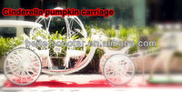 Luxury and Romantic white 4 wheels steel Cinderella princess pumpkin wedding horse carriage for sale