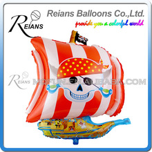 REIANS Customized printed inflatable cartoon Pirate Ship shaped aluminum foil balloons for birthday decoration (accept OEM ODM)