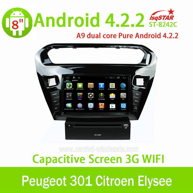 LSQ Star Pure Android 4.2 car stereo for Peugeot 301/Citroen Elysee with Canbus/3G/Wifi/SWC/DVD/Radio/BT/USB/ATV..Hot Selling!!!