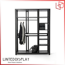 Modern retail store clothing combing wooden slat wall shoe display