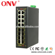 Managed 16 Port Industrial Poe Switch For Hikvision Dahua Ip Camera