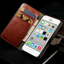 Wallet Leather Cover for iPhone 5C Crazy Horse Leather case for iPhone 5c with card holder+ bill site Stand function wholesale