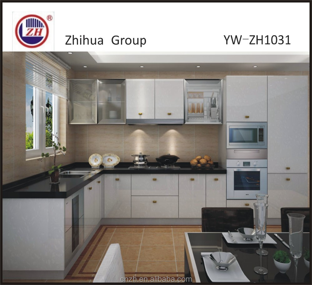 2015 white L-shape acrylic luxury series kitchen cabinet