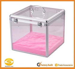 Aluminum Acrylic Jewelry makeup display case,cosmetic storage case