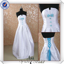 JJ0099 Satin No Train Light Blue And White Wedding Dress
