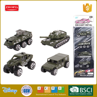 Zhorya small scale set of 4 free wheel alloy metal model land force military vehicle truck tank die cast toy car
