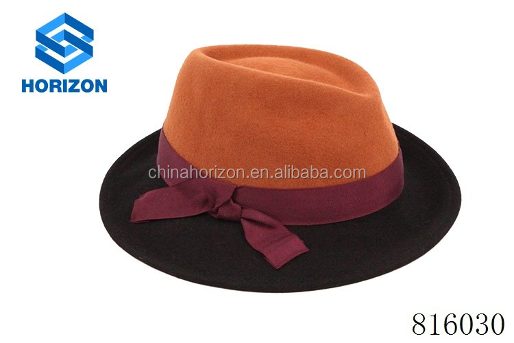 Large brim wool felt hat solid color ribbon and rope felt floppy hat