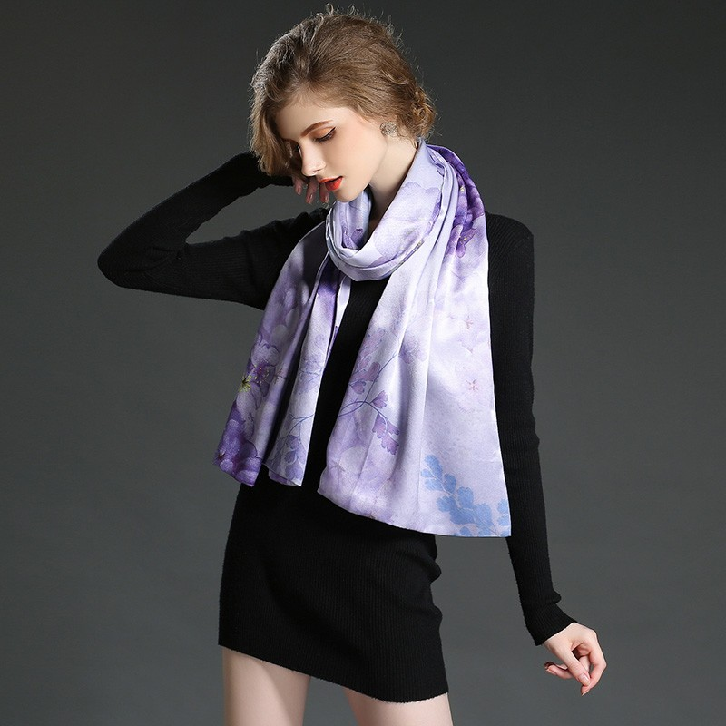 The high quality silk scarf shawl Double scarf shawl purple