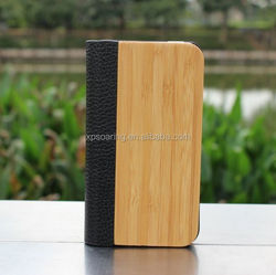 Flip Bamboo leather case cover for iphone 4G 4S