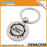 hot selling shiny silver finishing coin key ring