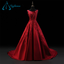2017 Lace Appliques Satin Custom Made Perfect Red Ball Gowns Wedding Dress