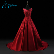 Lace Appliques Satin Custom Made Perfect Red Ball Gowns Wedding Dress