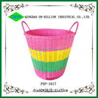 Hand woven cheap colored plastic laundry basket with handles