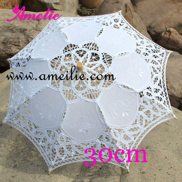 A0105 Ivory battenburg lace parasol and fan for children