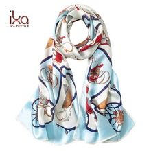 Custom Design Print Women Long Summer Pure Silk Satin Muslim Stole Scarf Shawl