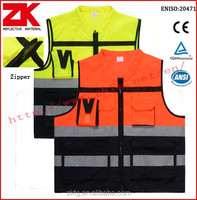 wholesale security EN20471 detachable tear away zipper reflective vest with pockets