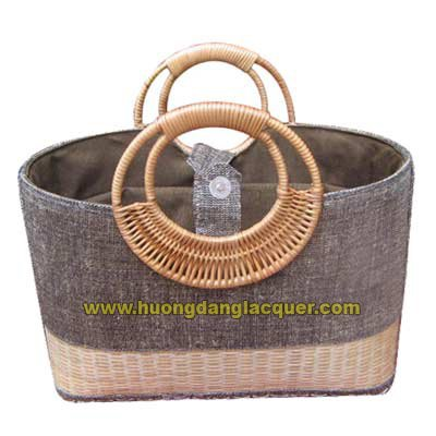 bamboo & jute handbag,rush bag, sedge handbag with sedge handles, ladies' handbag, fashion handbag.