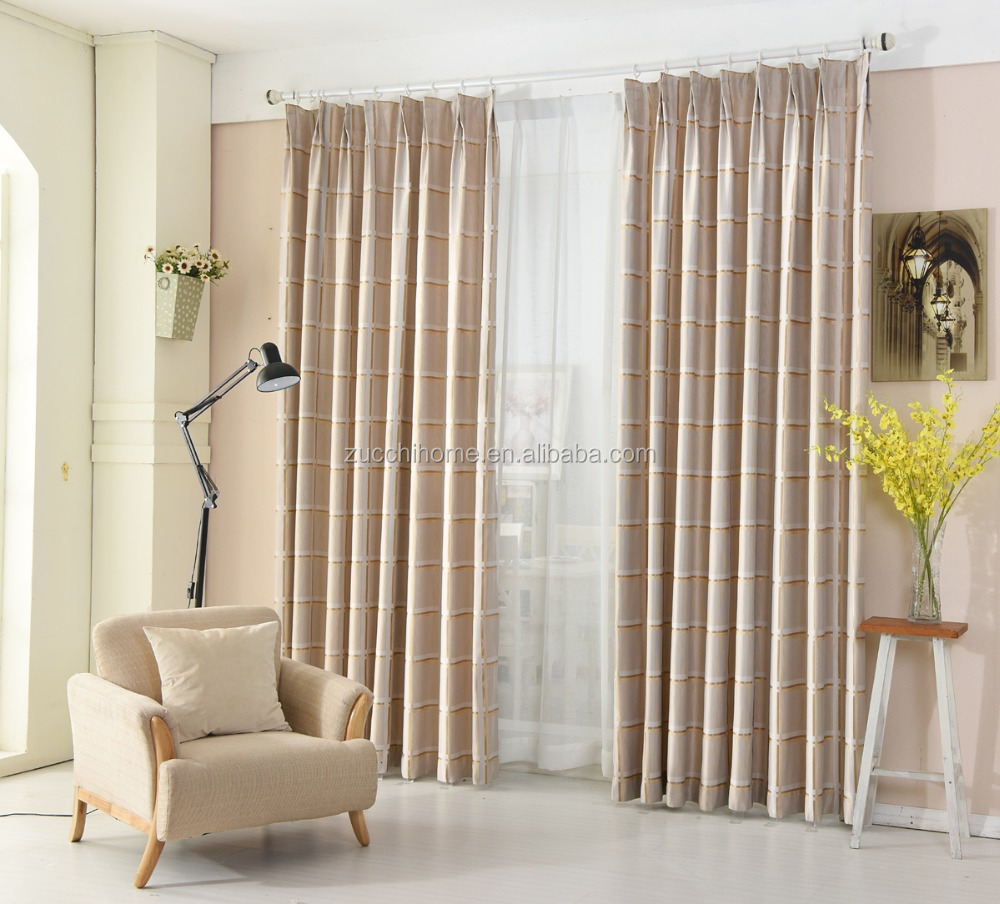 Checks European style curtain 100% polyester fabric jacquard curtain drapery