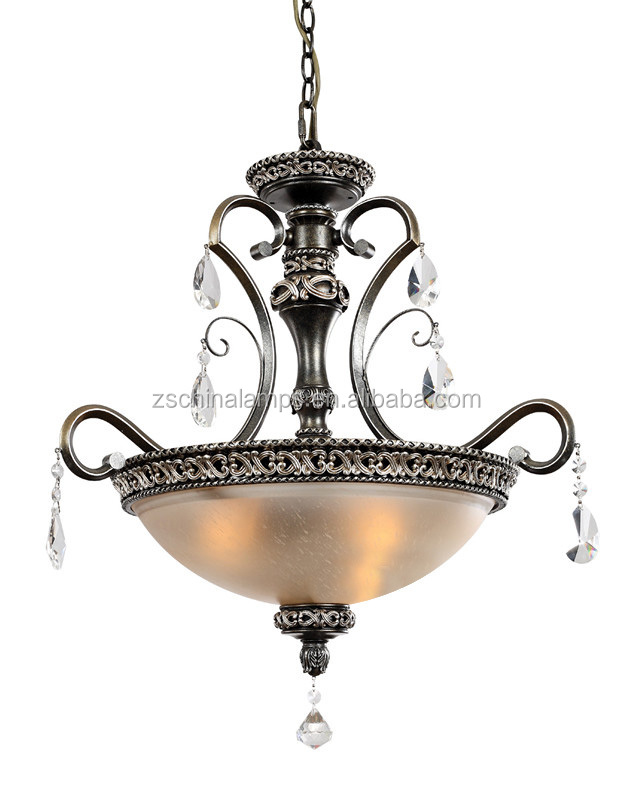antique style glass hanging pendant light with good quality iron and crystal droplet for hall decor