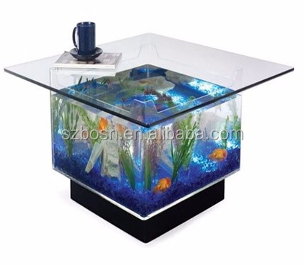 Home decoration transparent acrylic fish 25 gallon aquarium tank and coffee table top